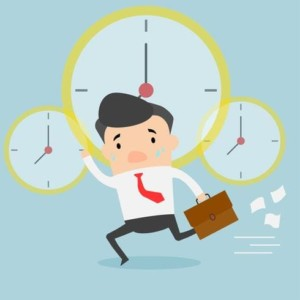 Vector Businessman Running And Holding Document Bag Clock Drives Businessman To Work Deadline Late